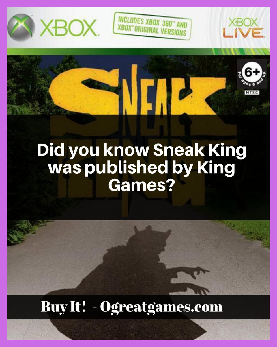 Did you know Sneak King was published by King Games? #xbox #xbox360 #games #fact #history https://t.co/mtLoRoPEyz