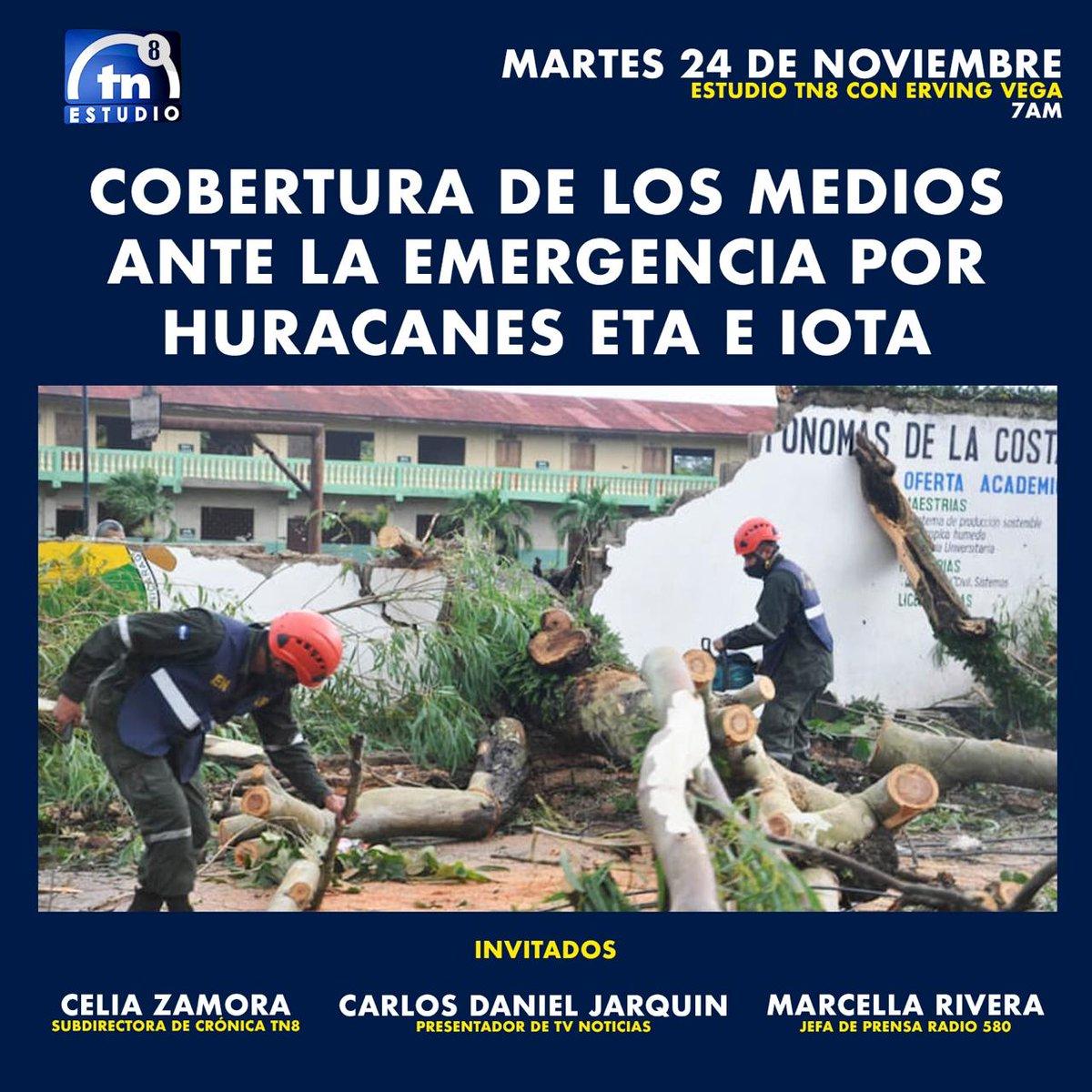 Este martes en #EstudioTN8 con @ervingvegaTN8   Analizaremos cómo fue la cobertura de los medios ante la emergencia por los huracanes #Eta e #Iota con @Daniel_Jarquin, @SoloCelia y Marcella Rivera   Los esperamos desde las 7 de la mañana