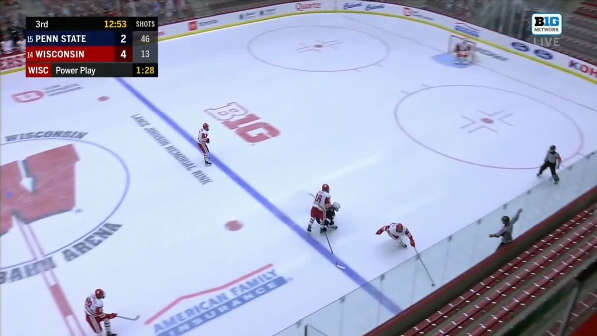 Here's a l👀k back at @colecaufield notching his first of the season through the five-hole for the fifth #Badger goal!