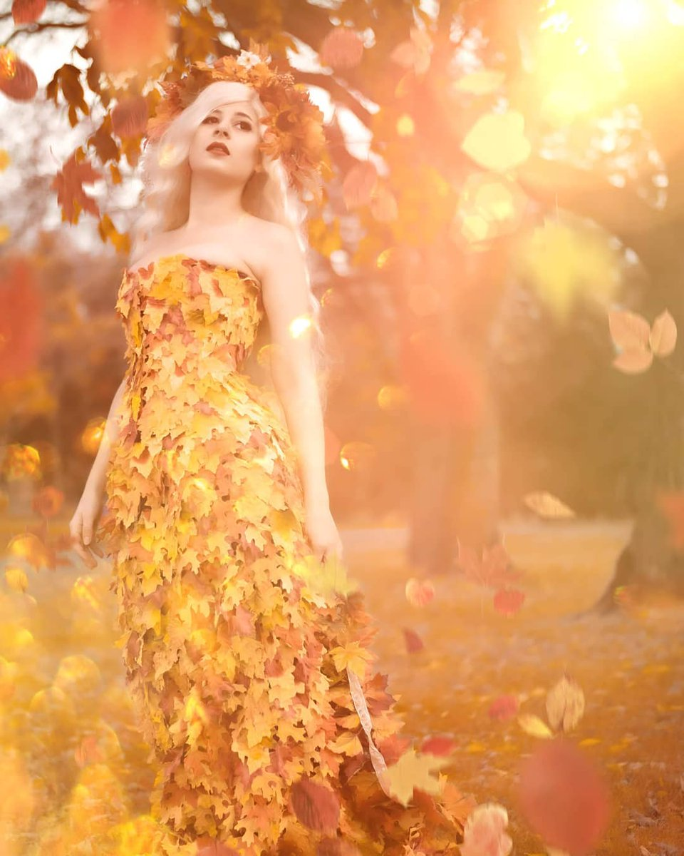 Autumn leaves falling down, like pieces into place...   Photo by @katherine.kingston   #autumn #fall #fallleaves #falldress #autumndress #autumnleaves #orange #gold #photography #fantasy #goddess #creative  📸  via