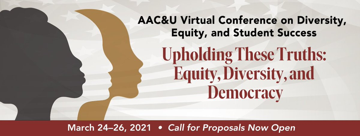 AAC&U invites colleagues to join us in sharing efforts that delve into the role of #HigherEd in upholding the values of equity and diversity, and in sustaining democracy. Proposals are due December 15, 2020.  Follow the link for more information: https://t.co/qNJql799nG.