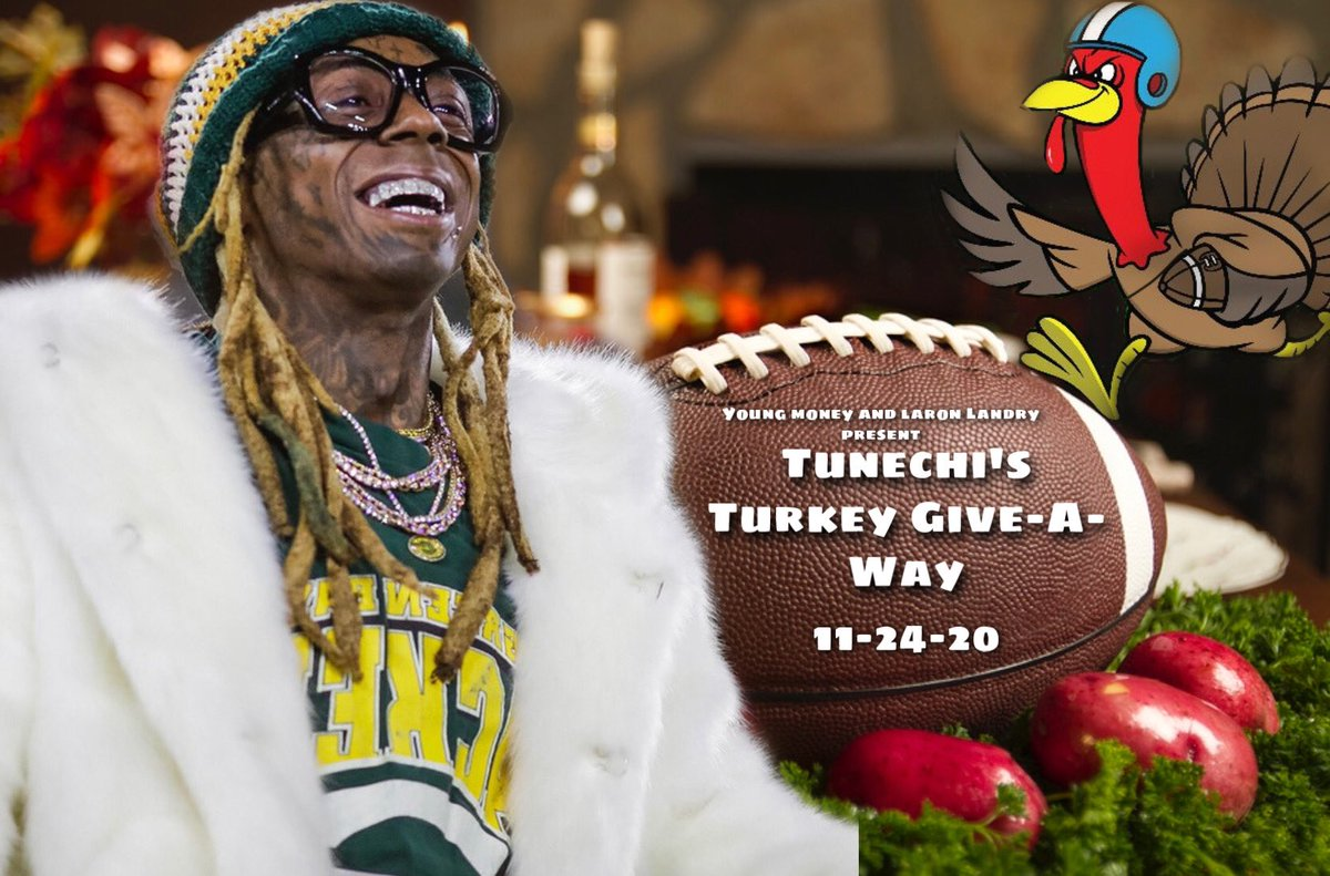 Tomorrow I'll be giving back to the people and city that raised me!! If you're in Orleans, St. Charles or Jefferson Parish please visit the link and sign up to have a turkey delivered to your home. Happy holidays! Tunechi 🤙🏾