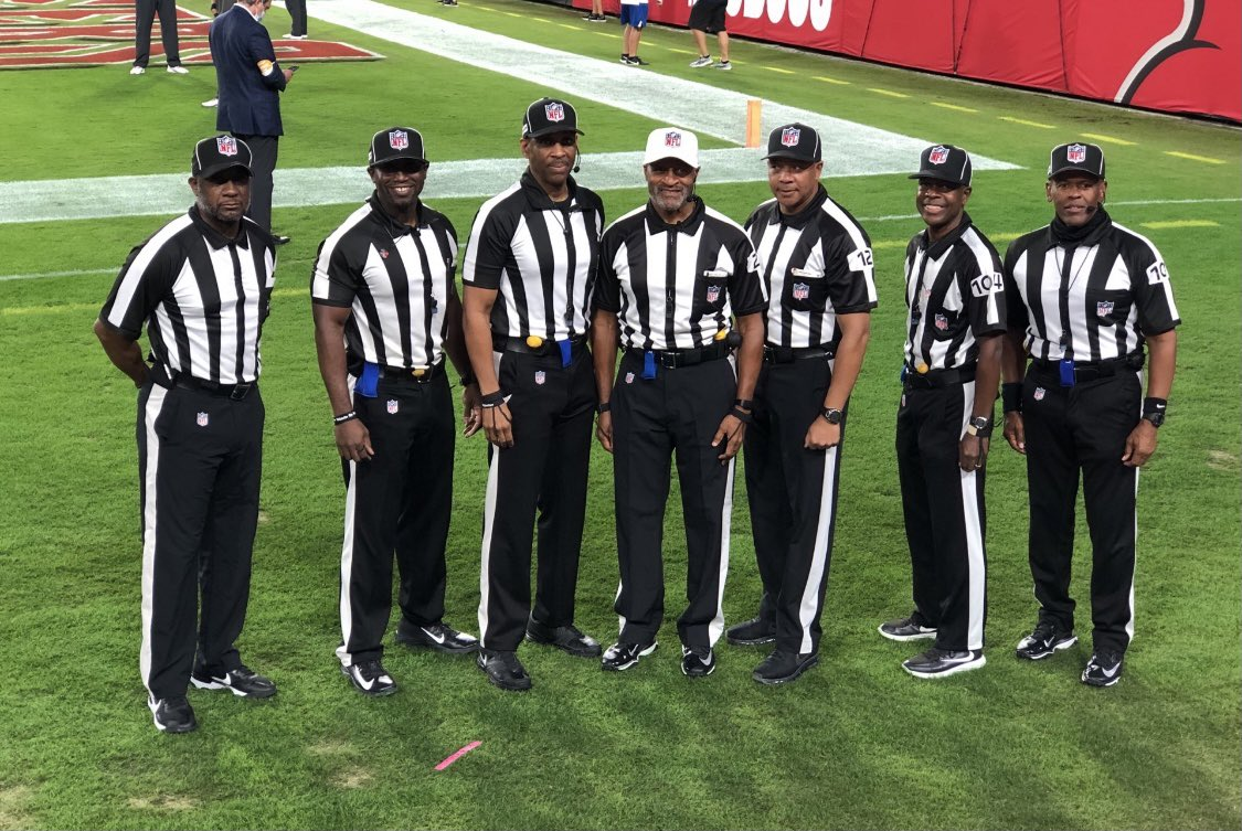 What a proud day for the entire sports world to see all Black referees officiating an NFL game! I never thought I'd see the day this would happen in the NFL.