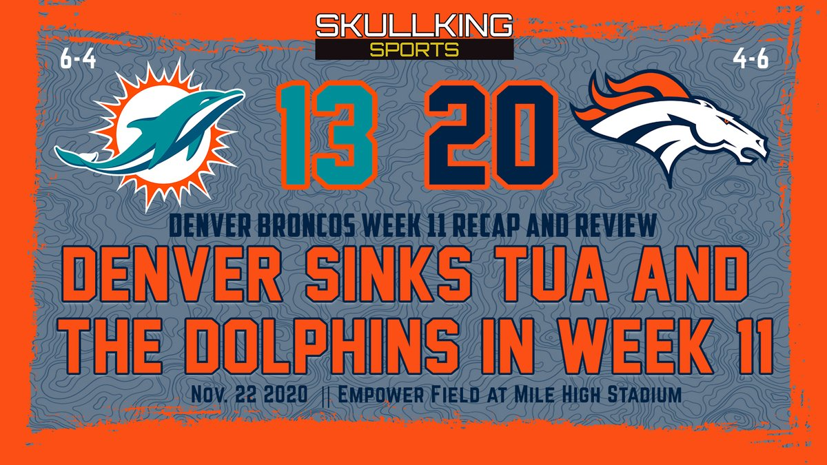 Winning is so much more fun than losing. The @Broncos should do it more often.   Read how the Denver defense slowed down Tua and how Drew Lock showed resilience vs the Dolphins in my weekly recap and review, now live on @skullkingsports!   ⬇️⬇️⬇️ https://t.co/T7KAep41PA https://t.co/3vZEyIY6PQ