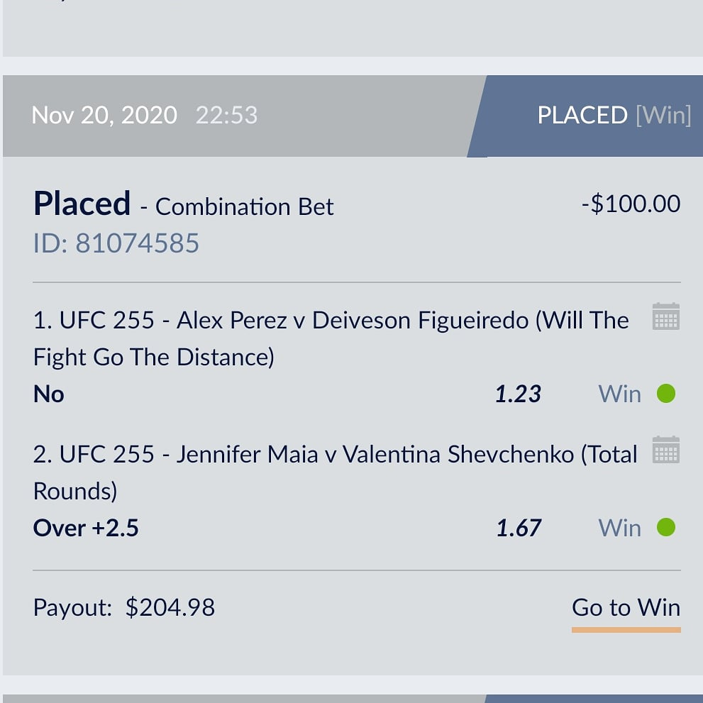 @PartyPalPicks For example heres one from #UFC255 ...imo it was a lock that Fig/Perez was not going decision but the odds were shit for a straight bet so i paired it with Shev/Maia O2.5 rounds which imo was more risky. But this shit works for me a lot