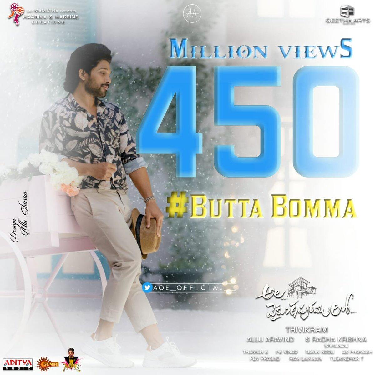 Unstoppable It's 450 Million + Views for #ButtaBomma   @AlluArjunHCF @TrendsAlluArjun @poojahegdeHCF @poojahegde345 @poojaholics