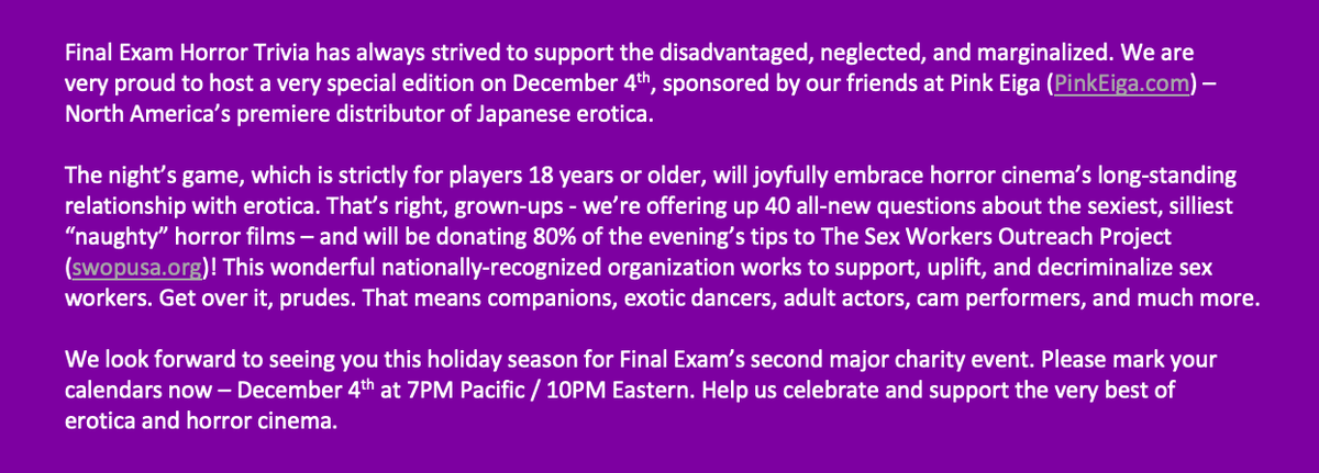 Just a reminder that we have an all-new game happening on December 4th, and it's going to a really good cause.   Please read and share our announcement below, and please play and tip this Friday! https://t.co/Kz1qYCJ9wX