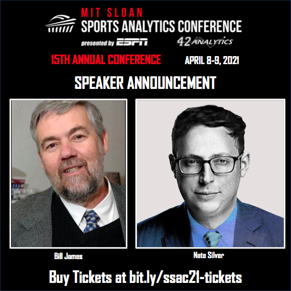We are excited to announce that @billjamesonline and @NateSilver538 from @FiveThirtyEight will be speaking at #SSAC21! Ticket sales are LIVE, so buy yours NOW! https://t.co/XkCKLdjjH9 https://t.co/8fuGYeZVrQ