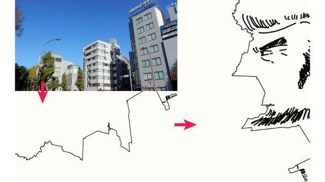 都市部で見られるビルの稜線というべきもの。あれをよく見て、なぞって、書き加えてたのしみました。