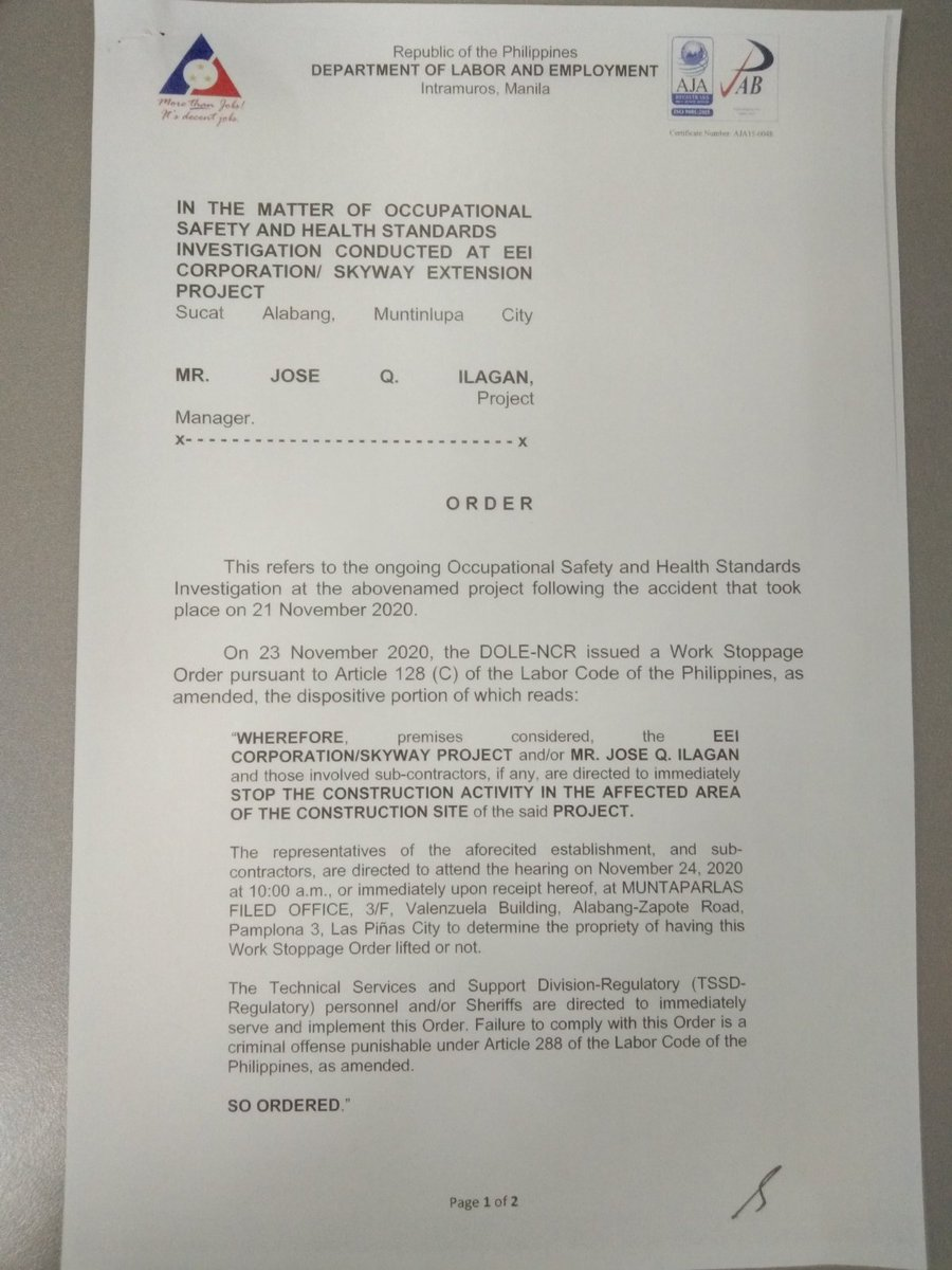 DOLE releases a new issuance reducing the scope covered by the work stoppage order it issued against EEI Corporation, the contractor of Skyway extension project, which was involved in a construction accident last Saturday. @BusinessMirror https://t.co/NM2Q0KAaN8