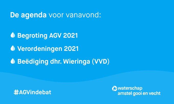 Kijk vanavond om 20:00 uur live mee met de digitale vergadering van @waterschapsagv  |  #AGVindebat    📽️👉 https://t.co/LEeQONZMFy Over onder andere 👇