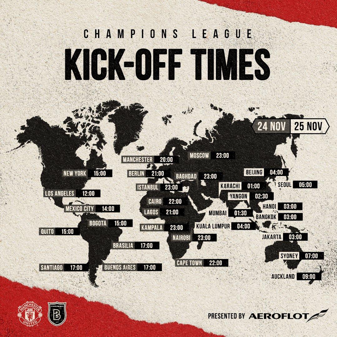 地域別 #UCL 試合開始時刻 📍  🔴 #MUFC ✈️ @Aeroflot_World 🌍 #WeBringTheWorldTogether