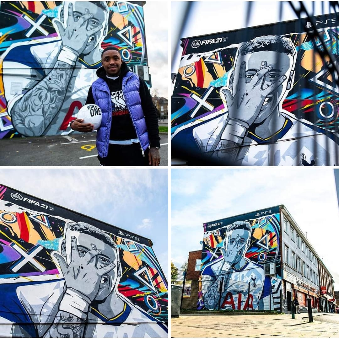 Những tấm áp phích lớn quảng cáo hình ảnh của tiền vệ Spurs Steven Bergwijn trong FIFA 21. 💙 #funandangels #stopcovid19 #togetherstronger #liveyourdream #biengiacmothanhhienthuc