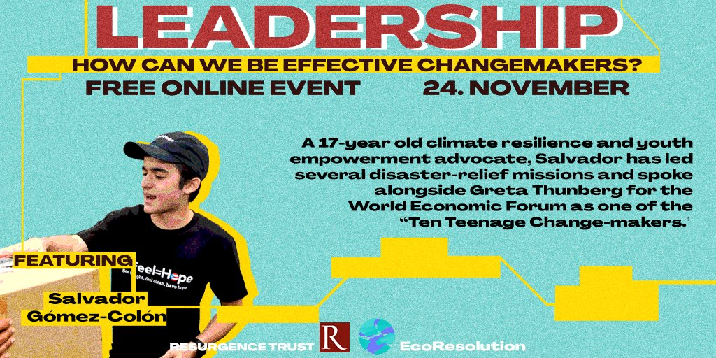 A free, online event for the leaders of tomorrow ☀️ Brought to you by @Resurgence_mag @the_ecologist  and @MyEcoResolution 19:00-21:00 GMT @sgomezcolon 🌈
