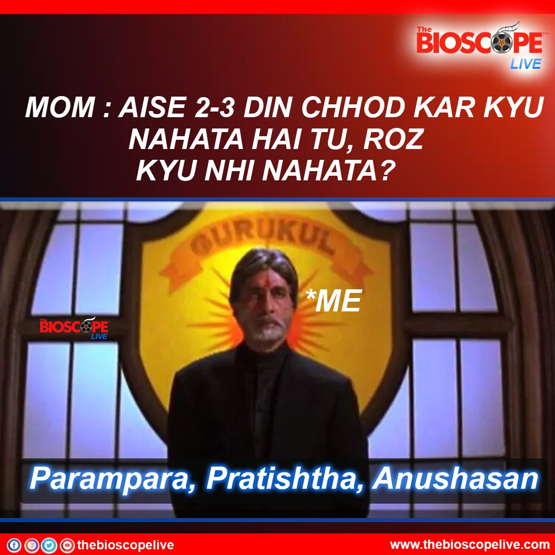 Parampara, Pratishtha, Anushasan...  @SrBachchan @iamsrk  @jimmysheirgill  @udaychopra  @ShamitaShetty  @AnupamPKher  @ShefaliShah_  #thebioscopelive #Bollywood #mohabbatein20 #movies #bollywoodnews  #WINTER #MEMES #memesdaily #WinterIsComing #WinterIsHere #dialogue #moviescene
