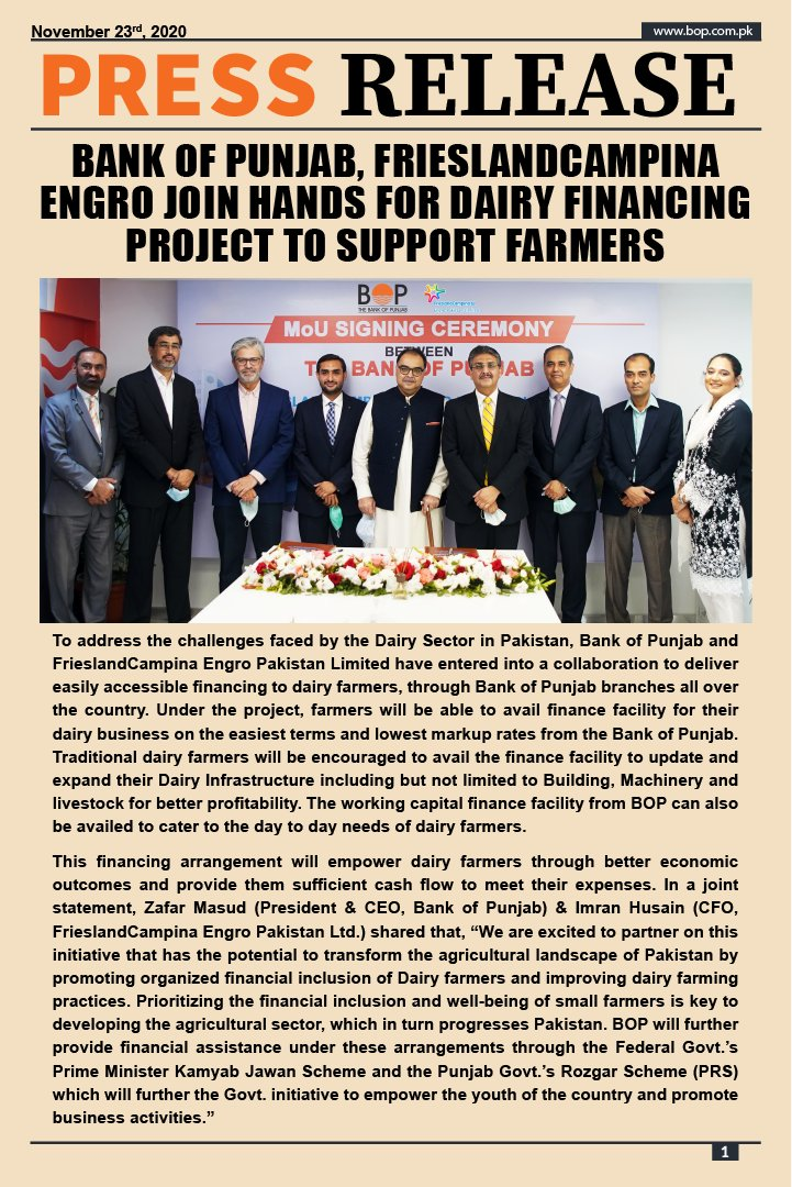 Bank of Punjab, FrieslandCampina Engro join hands for dairy financing project to support farmers. #BOP #TheBankOfPunjab #FrieslandCampina #Engro #PressRelease #SigningCeremony #Farmers #Financing #HarFardKaKhayal