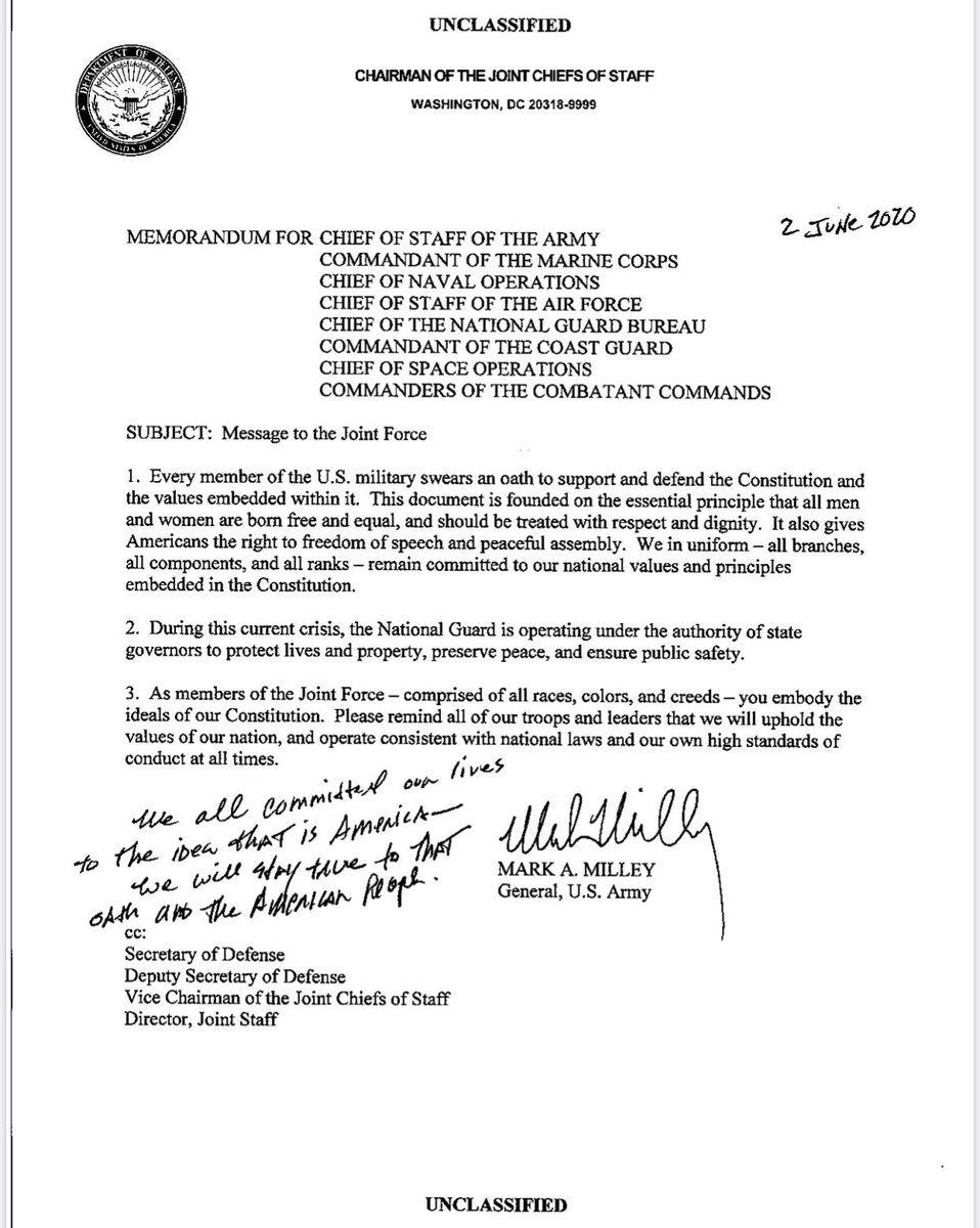 """At the height of the chaos in June, Joint Chiefs Chairman General Mark Milley sent a memo to the military emphasizing it. He included this handwritten note:  """"We all committed our lives to the idea that is America — We will stay true to that oath and the American people."""" (3/7) https://t.co/s2s47bWUr0"""