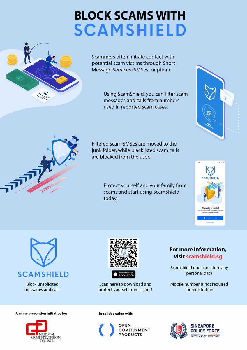 👏🏻Introducing ScamShield from National Crime Prevention Council Singapore   An app with AI that can shield you from potential scams! 🛡  #wattennc #scamshield #nationalcrimepreventioncouncil #singapore #mywatten https://t.co/hTl93mSCRc