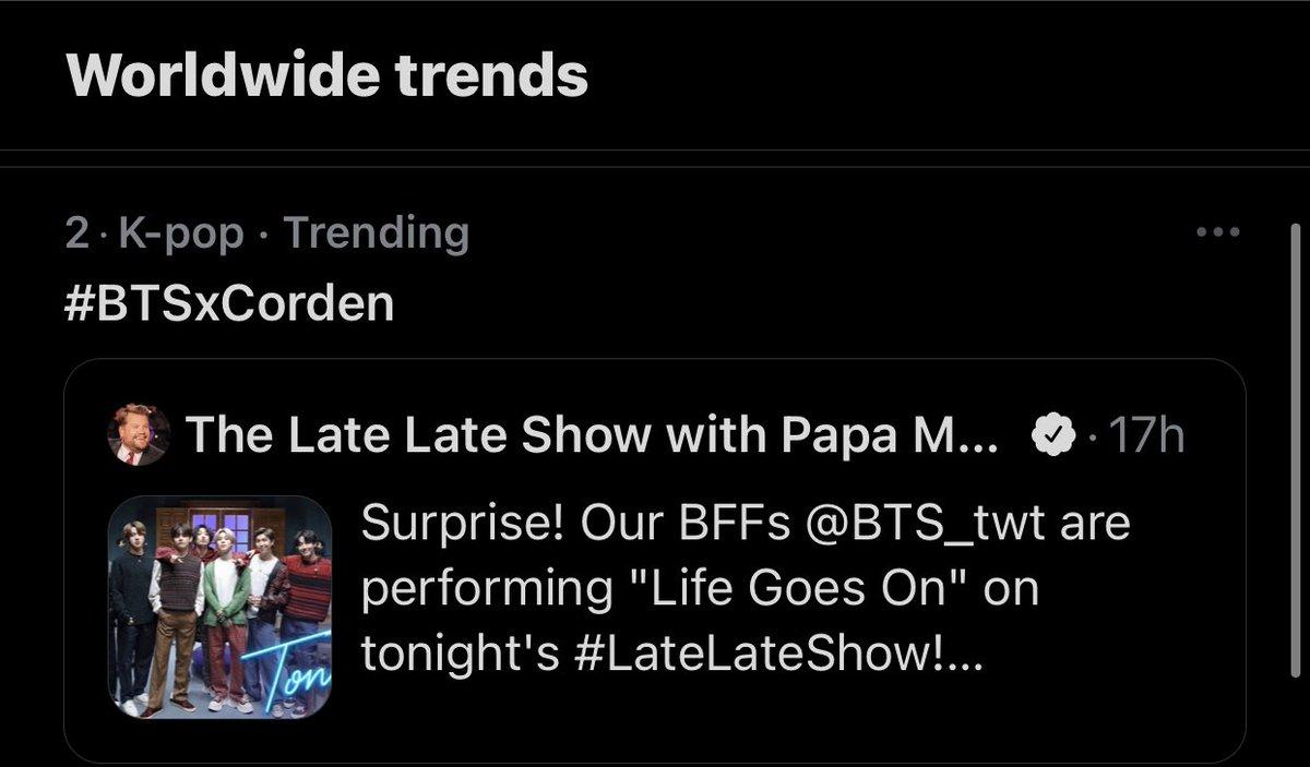 [TRENDING] (22:02 PST)   #BTSxCorden is trending worldwide 🌎💜 @BTS_twt