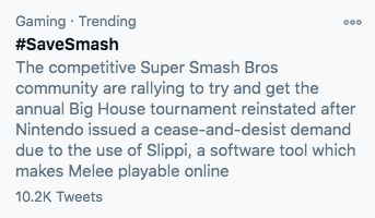 #SaveSmash  10.2K. So proud.  For my mutuals who don't play Smash: I'm tweeting about this is because I've been part of this video game community since I was 11. However Nintendo is attempting to kill the very same community I grew up in.  It's more than a game.