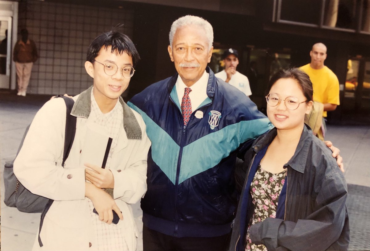 """.@jenny8lee and I interviewed Mayor David N. Dinkins in 1993 for our high school paper. His vision of NYC as """"a gorgeous mosaic"""" inspired me. RIP. https://t.co/ytLQ1HBRc2"""