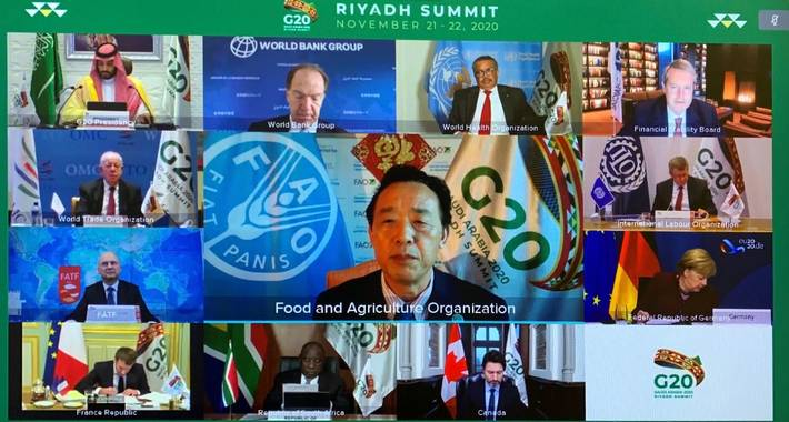 """""""It is essential for the G20 to keep working on preventing this health crisis from becoming a global food crisis.""""  - @FAODG called on the #G20Summit to address the impacts of  #COVID19 on agri-food systems. 🌱🐷  Read the full story here ➡️"""