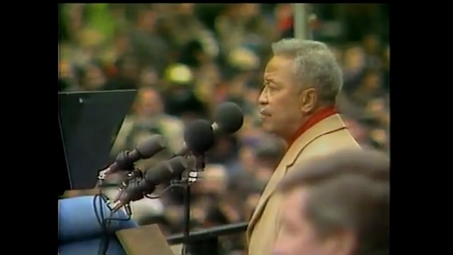 We are all foot soldiers on the march to freedom, here and everywhere. We all belong to the America that Lincoln called the last best hope of Earth, David Dinkins said at his inauguration in 1990. (Courtesy: NY Municipal Archives)
