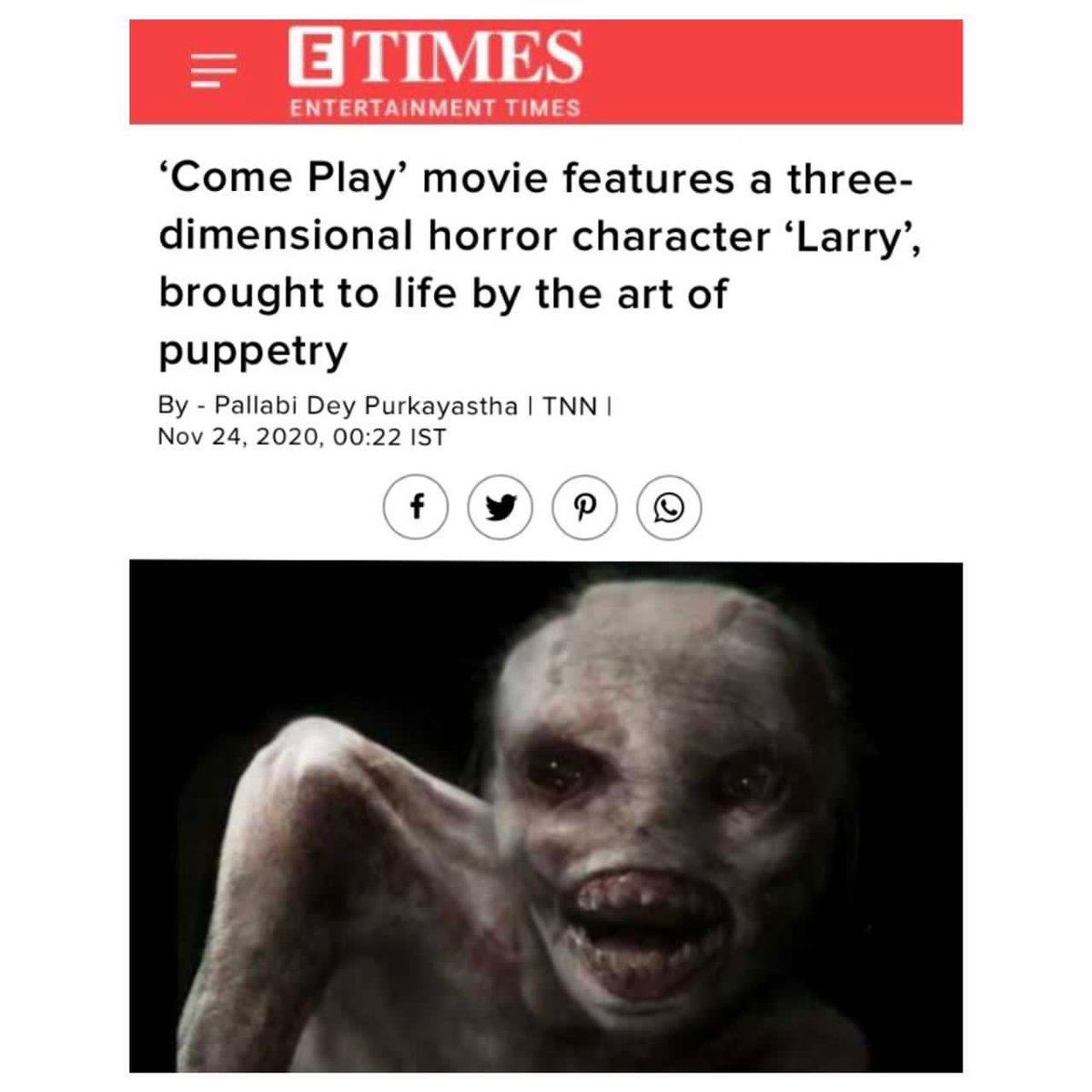 Scary. Scarier. Scariest. That's Larry for you! Delve into the process of making the monster, here:   #ComePlay In Cinemas November 27.  @JacobSChase @RobertsonAzhy #GillianJacobs @JohnGallagherJr  #AlexHeineman @amblin @Shibasishsarkar @comeplaymovie