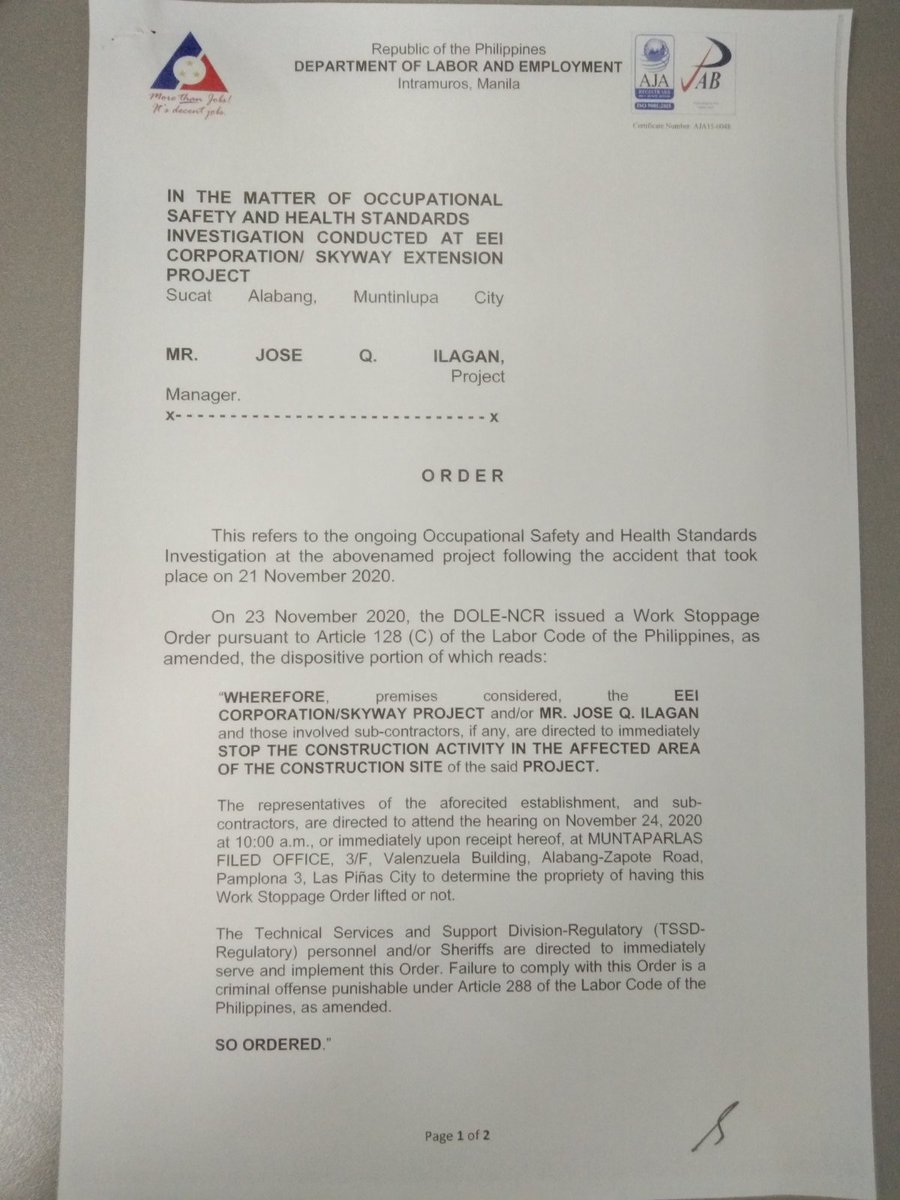DOLE partially lifts work stoppage vs EEI Corporation, the contractor involved in the accident in Skyway which killed 1 and injured 4 others. Work stoppage order now limited to the affected area only. | via @zenhernandez https://t.co/uQZcr3wI6W