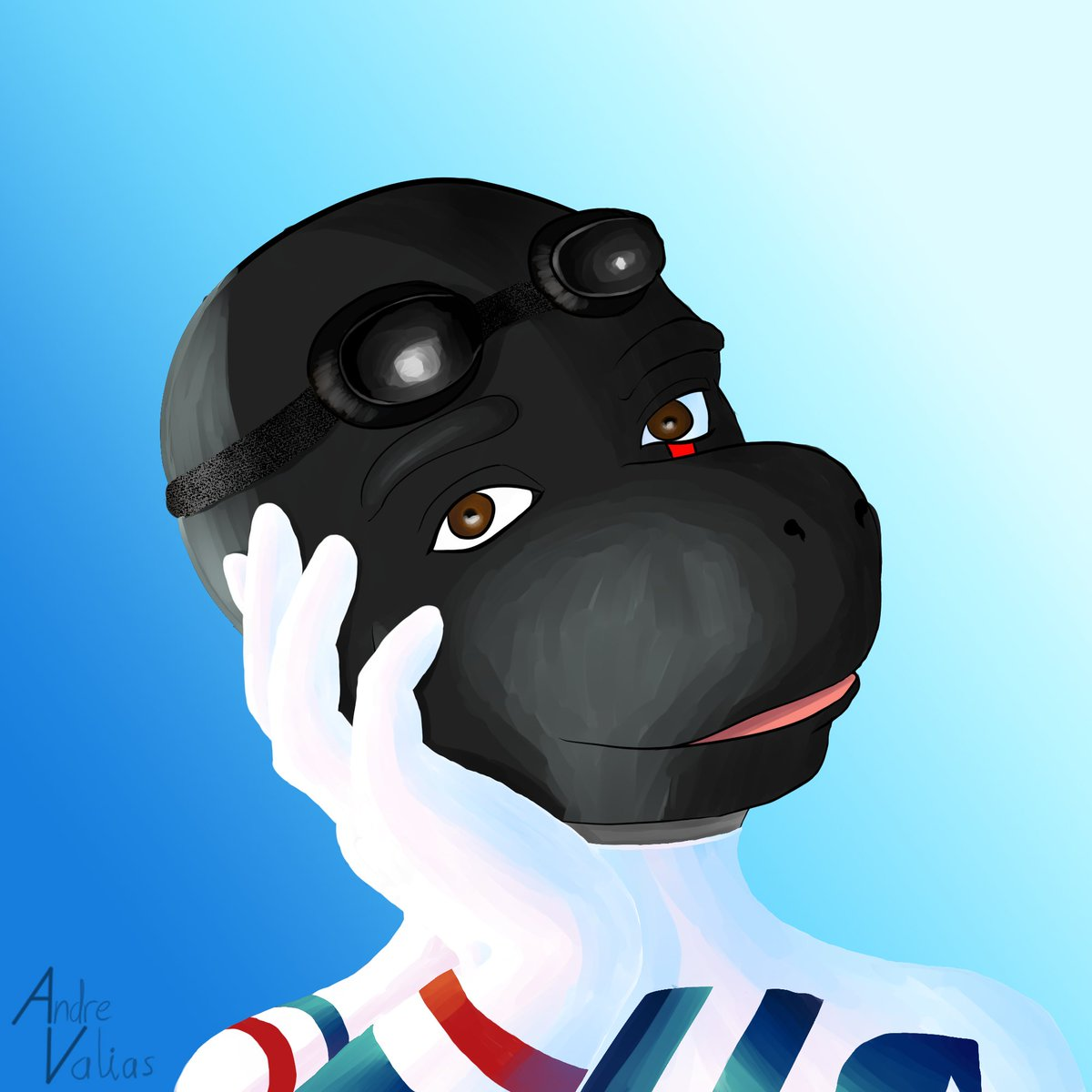 I finished #digitalpainting the icon for my Auricom pilot, for a project with @Fluxyshark ! He's ready to race. #Wipeout #digitalart #art #CLIPSTUDIOPAINT #furryart #scalie #salamander #OC #furry https://t.co/9DlADsE0yZ