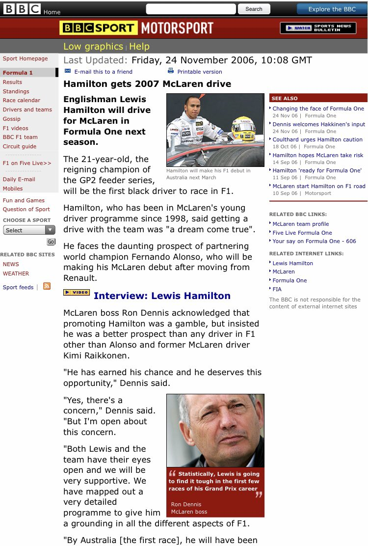 """#OnThisDay in 2006 McLaren announced Lewis Hamilton as a 2007 #F1 driver. """"Lewis is going to find it tough in the first few races,"""" said Ron Dennis. """"This will be a challenge & I know there'll be a lot of attention on me,"""" said Hamilton. I think you came thru OK, champ.(1/2) https://t.co/naDmiEjSW7"""