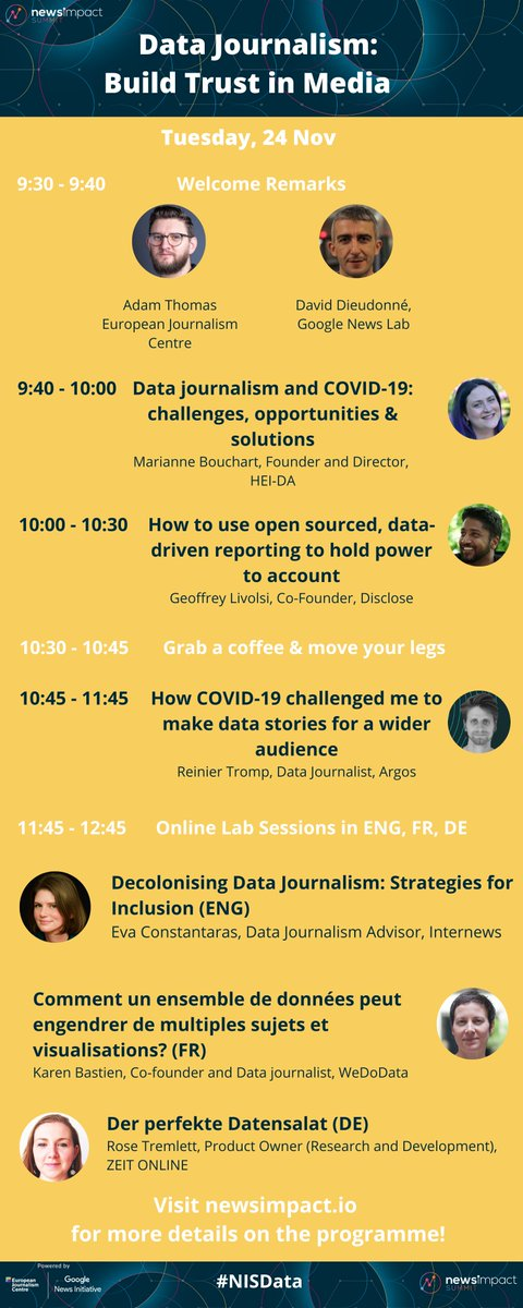🚀 The 1st day of #NISData is here! Today we'll explore... 👉 opportunities for #DataJournalists during #COVID19 👉 recipes for making #DataJournalism more inclusive 👉 ways data-driven reporting can hold power to account 👉 & more!  Join us at 9:30 CET ➡️