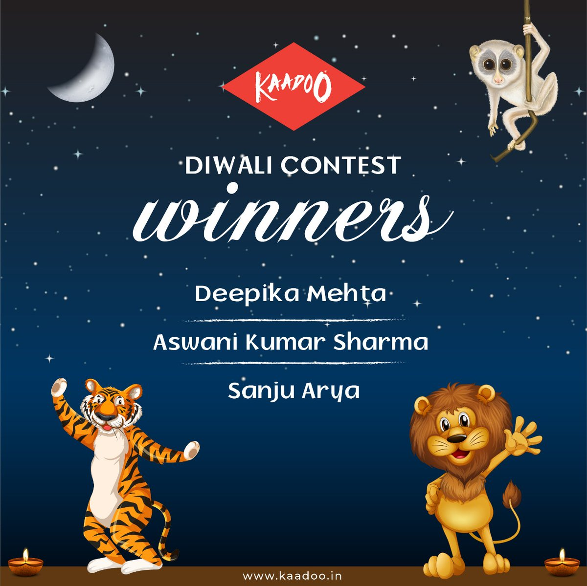 We are happy to announce the Diwali Contest Winners. Thank you all for the participation.   Winners please share the contact numbers and Email id to send your Prize.   #KaadooGames  #BoardGames #games #gameplay #kaadoo #Diwali #Diwali2020 #prizes #celebration #animals