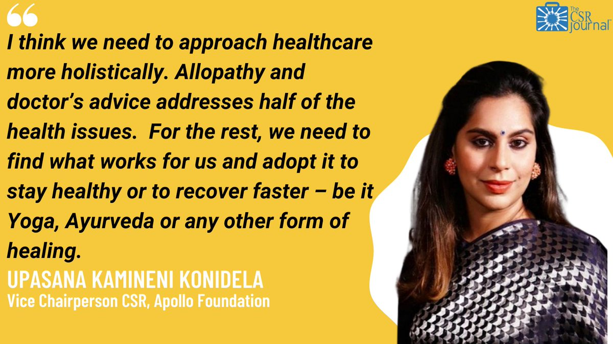 Upasana Kamineni Konidela, Vice Chairperson CSR, Apollo Foundation in an exclusive chat with The CSR Journal shares her thoughts on holistic healthcare. Link in bio.  #Ayurveda #Healthcare #Mentalhealth   @upasanakonidela @ApolloFND