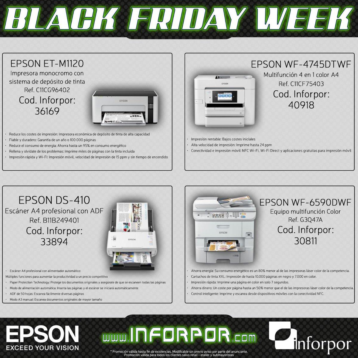 Ofertas @Epson_ES en la semana #BlackFridayWeek  #impresora #mfp #escaner  #tinta #monocromo #ecotank #color