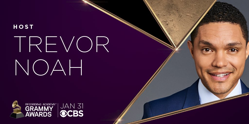 We're thrilled to welcome @TheDailyShow host, Emmy-winner, and GRAMMY-nominee @TrevorNoah as the host of the 63rd #GRAMMYs!   We can't think of a better person to serve as Master of Ceremonies for Music's Biggest Night. 🎶