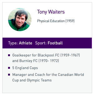 RIP Tony Waiters, a Loughborough legend💜  🎓@LboroAlumni PE & Geography ⚽Goalkeeper for Blackpool FC & Burnley FC 🏴5 England caps 🇨🇦Canada's Manager and Coach for the 1986 World Cup, the only year they've reached the finals 🏆Loughborough Sport Hall of Fame https://t.co/AXSg3Xq0nD