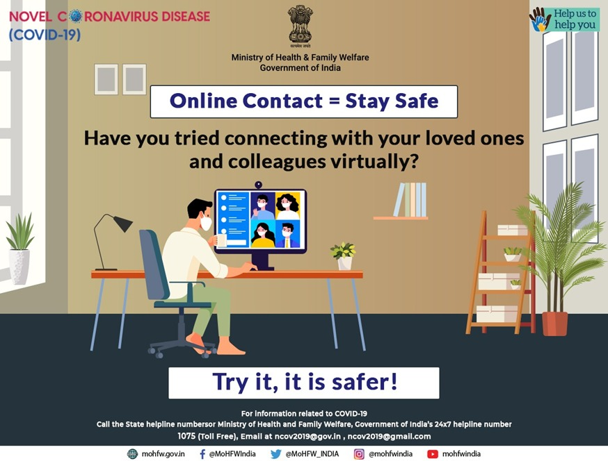 #IndiaFightsCorona:   Avoid mass gatherings for your own safety. Stay in touch with your loved ones through virtual platforms.    #Unite2FightCorona #DoGajKiDooriMaskHaiZaruri   Via @MoHFW_INDIA