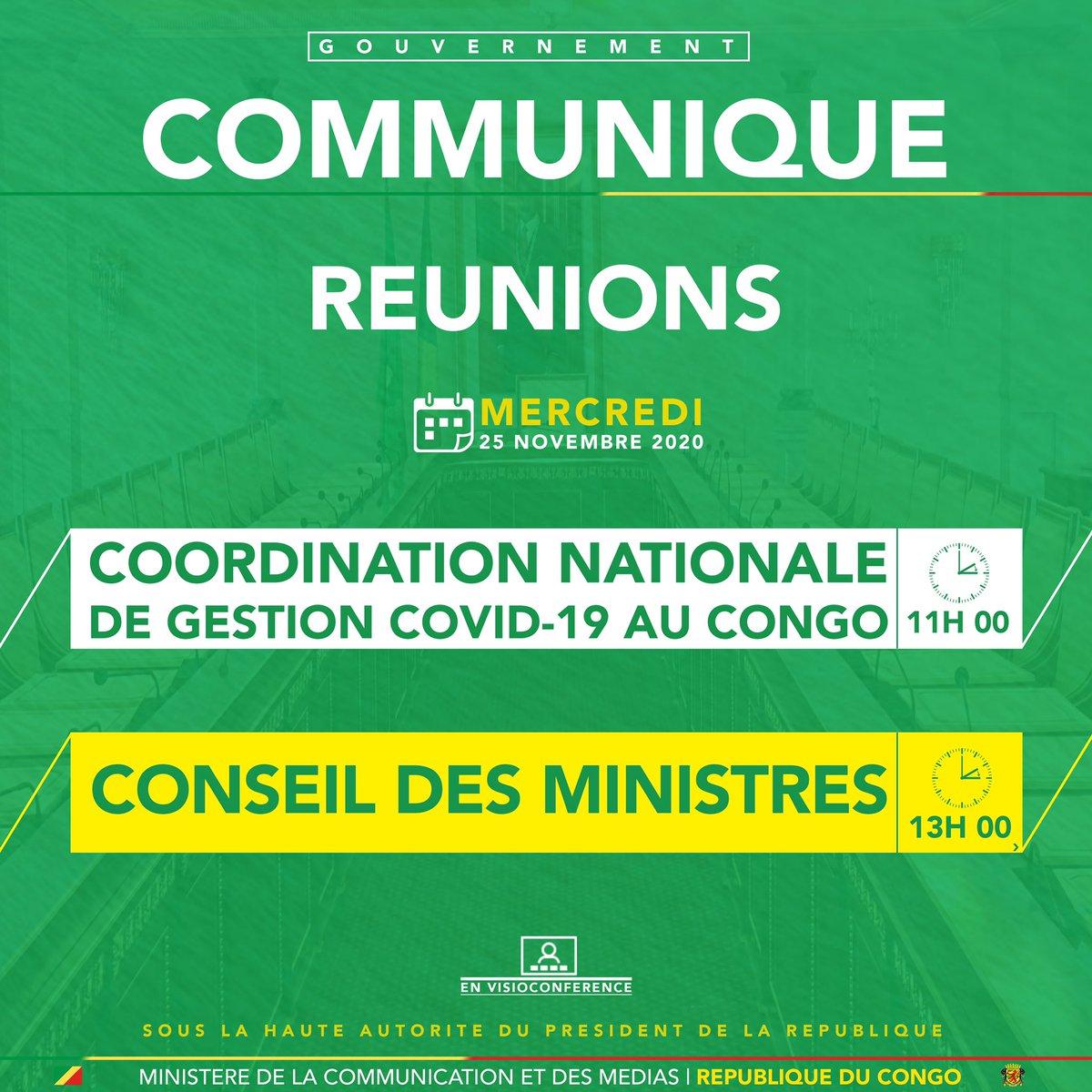 #COMMUNIQUE  Il se tiendra successivement ce mercredi 25 novembre 2020, par visioconférence, la réunion de la Coordination nationale de gestion du coronavirus (#COVID19) au Congo suivie d'un Conseil des Ministres. https://t.co/N4pyDuFfaT