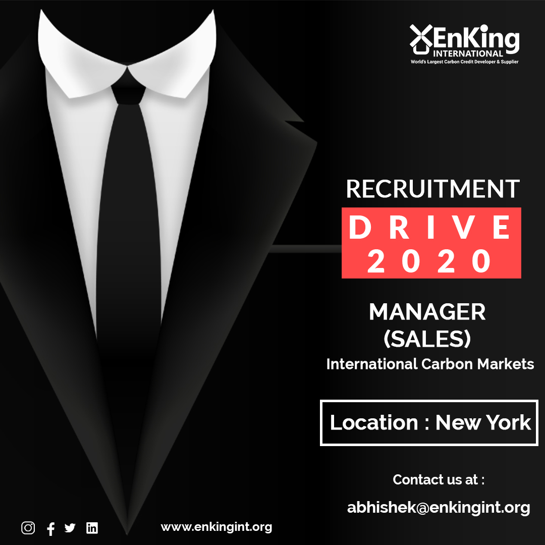 #EnKingInternational is hiring for #NewYork city, USA for Manager (Sales)- International Carbon Markets.  Get in touch with us at - abhishek@enkingint.org  #RecruitmentDrive #Recruitment #Hiring #Manager #EnKingIndia #EnKingInternationalIndia #Indore