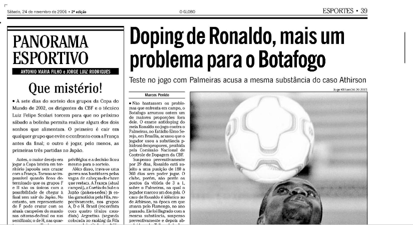 24/11/01's O Globo said that @CBF_Futebol had realized that it would be impossible to achieve its biggest dream in the 2002 #WorldCup draw: to play all games without leaving Japan and at the same time avoid meeting @equipedefrance before the final. #Brazil #soccer #goals #Champs