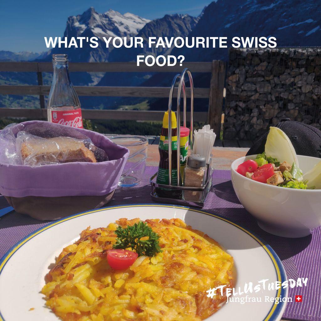 🍽️ ⠀ #TellUsTuesday⠀⠀ ⠀⠀ @GrindelwaldCH | @WengenSwiss | @murren007 | @MyLauterbrunnen | @Haslital  ⠀ #favouritefood #swissfood #food #swiss #favourite #jungfrauregion #madeinbern #inLOVEwithSWITZERLAND #switzerland