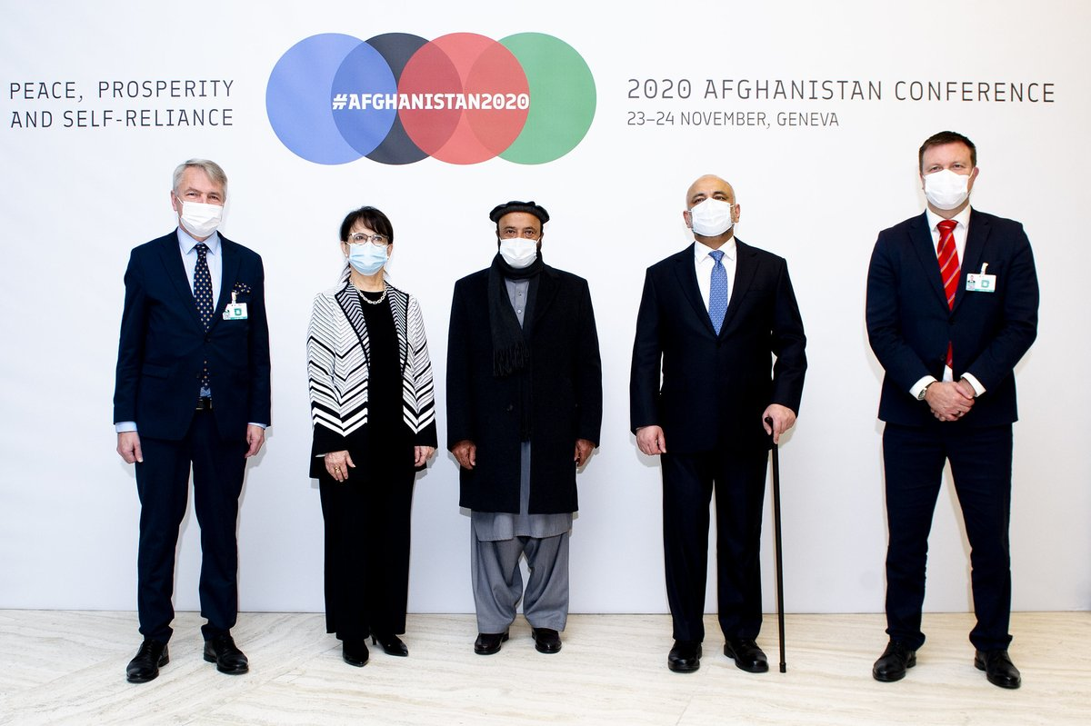 Co-chairs of the #Afghanistan2020 Conference @AbdulHadiArgha2 @MHaneefAtmar @Haavisto @VilleSkinnari @DeborahLyonsUN