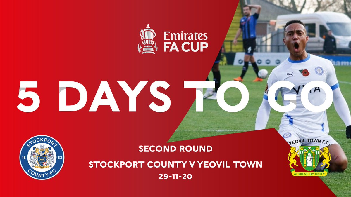 ⏳ᴛʜᴇ ᴄᴏᴜɴᴛᴅᴏᴡɴ ɪꜱ ᴏɴ! 🏆  County are back in #EmiratesFACup action this Sunday as we welcome Yeovil Town to Edgeley Park. Looking forward to this one, County fans?