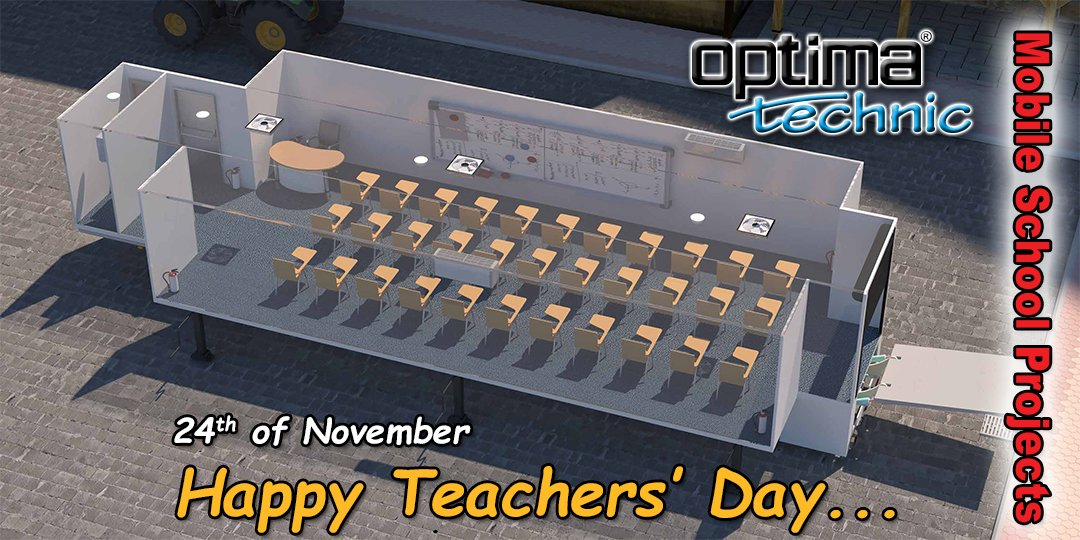 Happy Teachers' Day..  Optima Technic #mobile #school #projects #mobileschools #mobileworkshop #mobilehospitals #24thnovember #happy #teachersday  #ogretmenlergunu https://t.co/VKaQqBTjDH