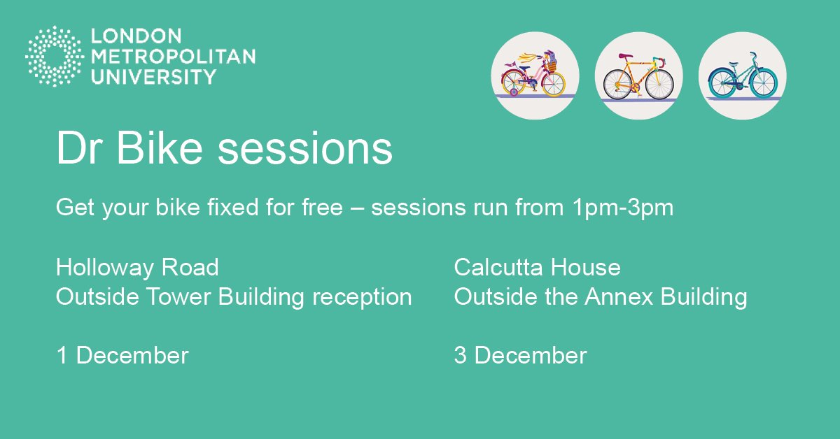 Here are our last free Dr Bike sessions this term!  📍Holloway Road: 1 December 📍Calcutta House: 3 December  🕐1-3pm  #cycling #GreenLondonMet #GreenImpact #bike #maintenance #HollowayRoad #CalcuttaHouse 🚴♂️🚴 https://t.co/apremFeV7k
