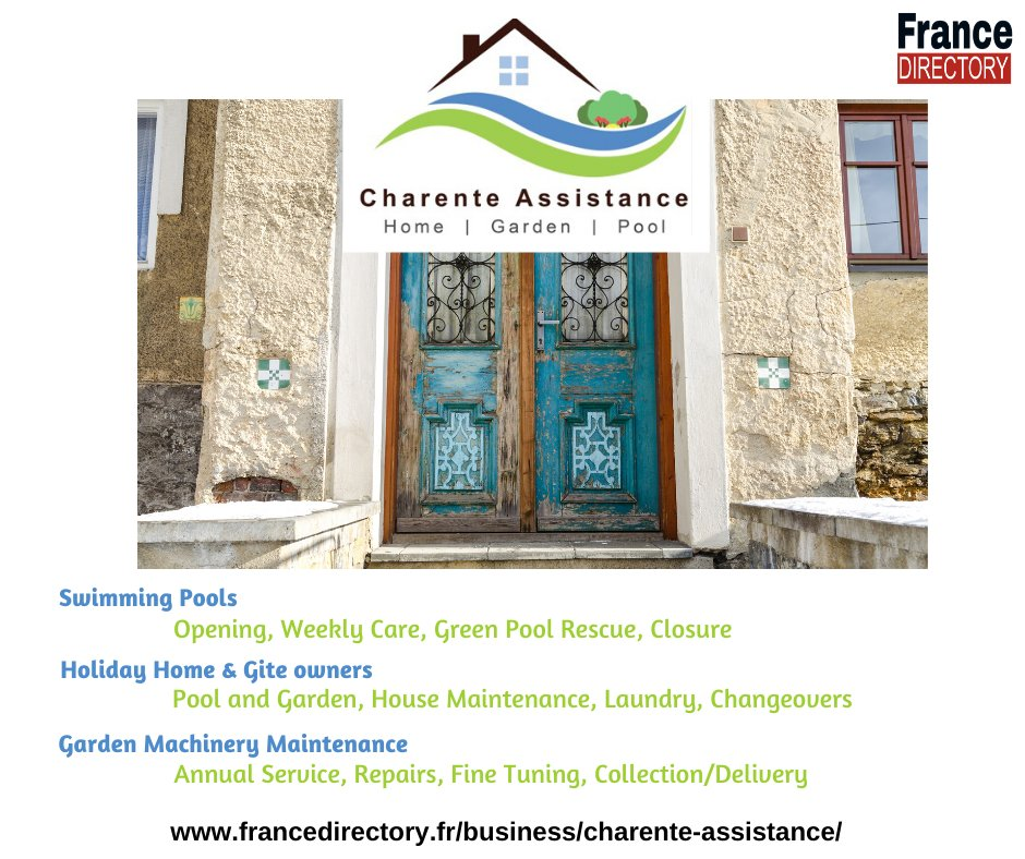 At Charente Assistance, we can cater for all your property management needs whether it be the house, pool or garden.  https://t.co/wbvWGObvfI  #charente #propertymanagment #gites #holidayhomes #frenchhouse #poolmaintenance #gardener #france #expats https://t.co/fM0EPYZPnv