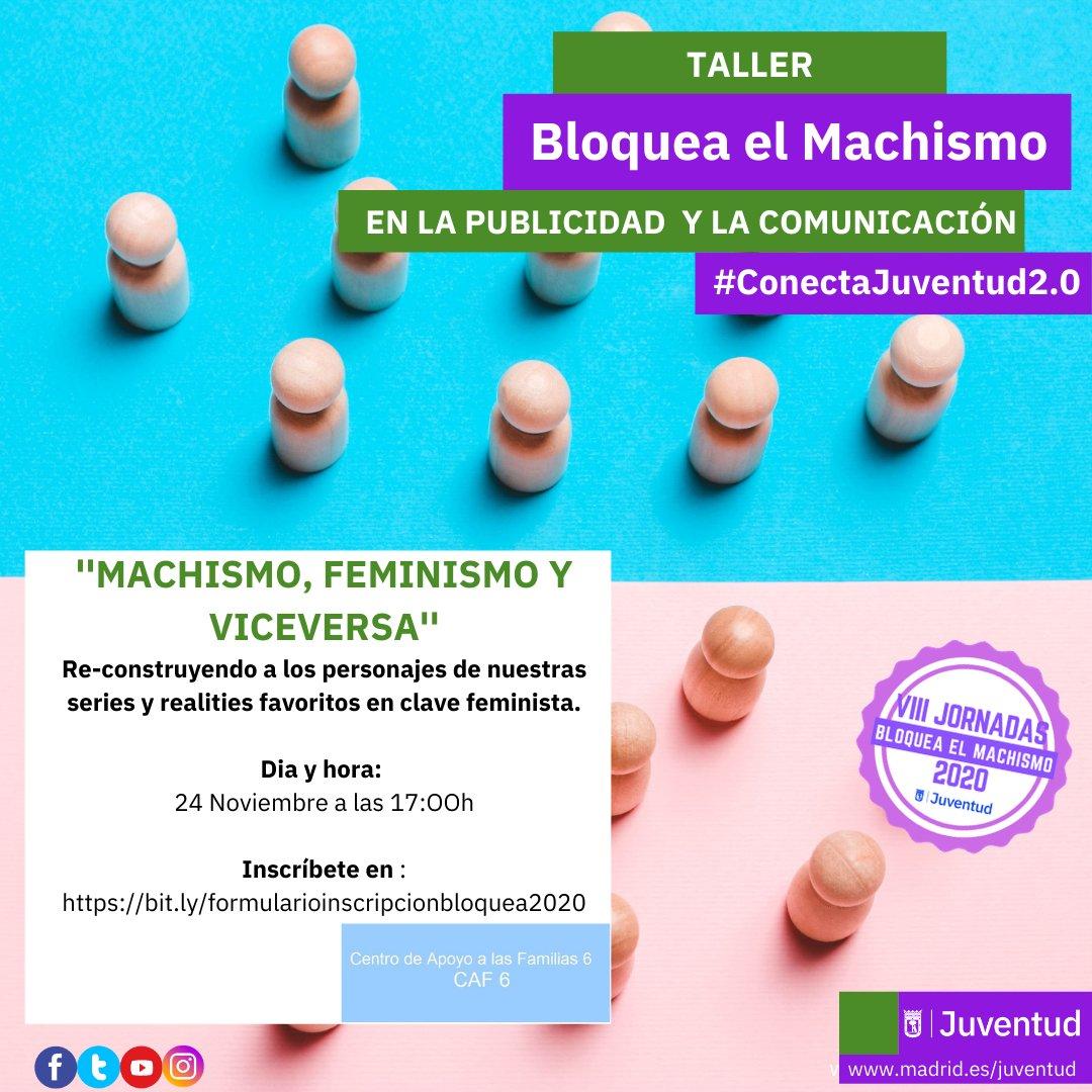 📺Atentas a este encuentro para reconstruir a los personajes de nuestras series y realities favoritos en clave feminista con @MadridJuventud#Feminismos #BloqueaElMachismo2020#Hoy a las 17:30h👇🏾👇🏾