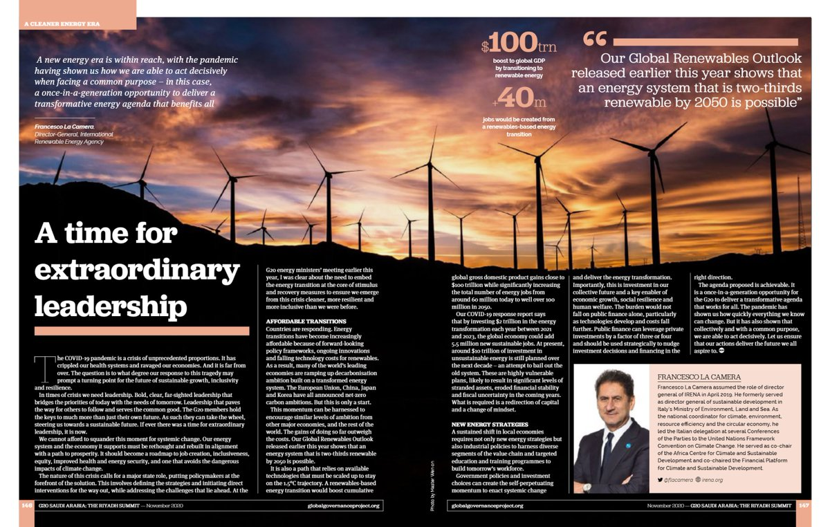 The #G20 holds the key to more than just their own future — they can take the wheel, steering us towards a sustainable future. If ever there was a time for extraordinary leadership, it is now.  @flacamera's thoughts in @GloGovProj's #G20SaudiArabia issue
