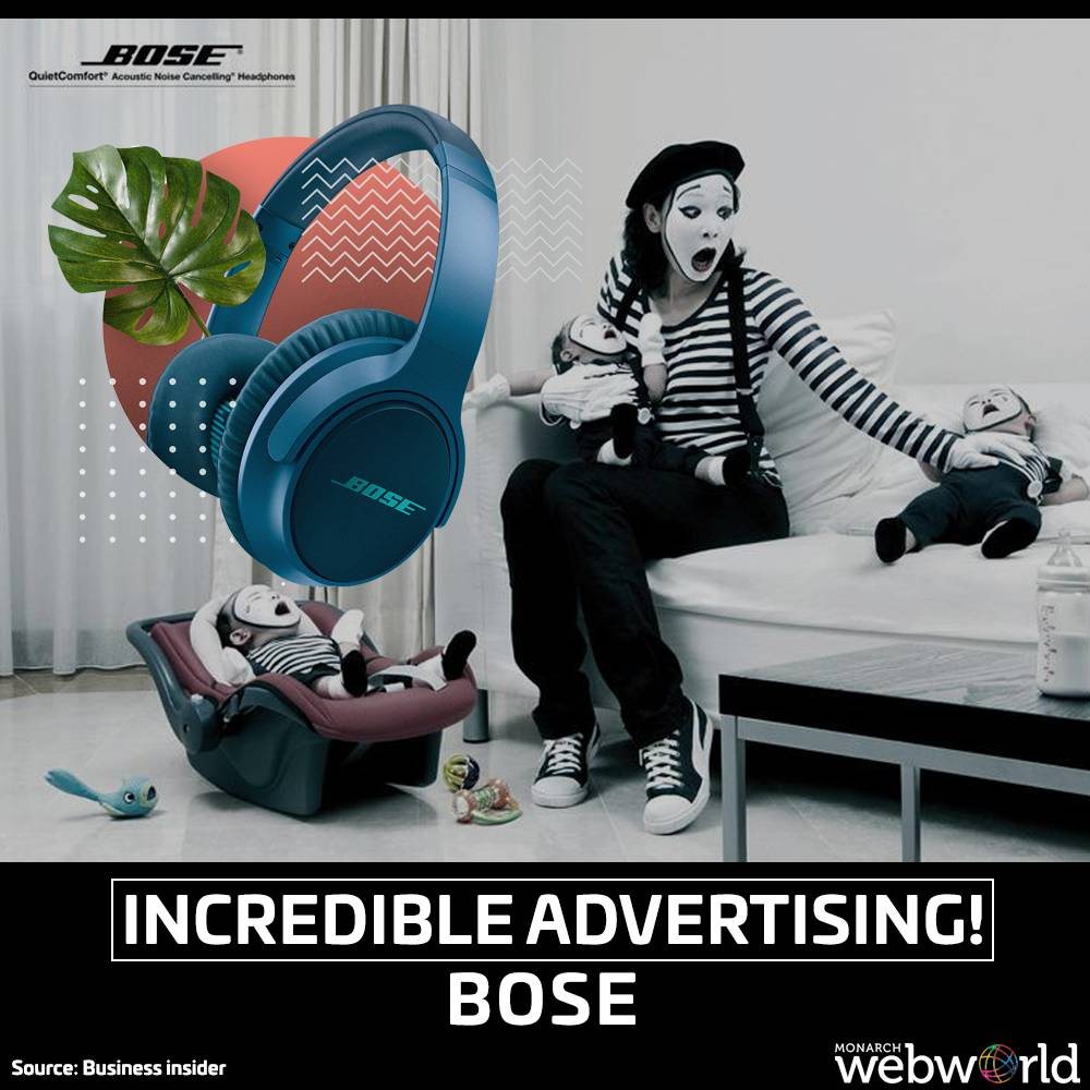 Bose advertising their noise-canceling headphones, the world is guaranteed to be as quiet as a family of mimes.  #BOSE #boseheadphones #advertising #incredible